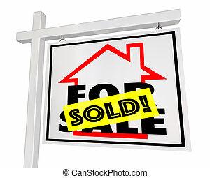verkauft, daheim, verkauf, haus, immobilien- zeichen, 3d, abbildung