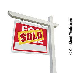 verkauft, daheim, verkauf, immobilien- zeichen, weiß