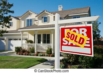 verkauft, immobilien- zeichen, und, haus