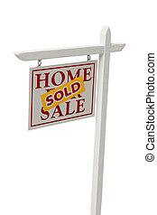 verkauft, verkauf, immobilien- zeichen, weiß, mit, ausschnitt