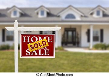 verkauften zeichen, haus, verkauf, daheim, neu , front