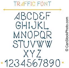 verkeer, lettertype, brieven