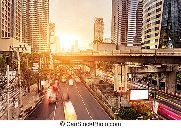 verkeer, moderne, stad, sporen