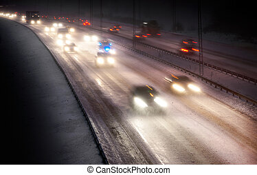 verkeer, snowstorm
