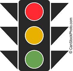 verkeer, witte , achtergrond., vector, licht, illustratie