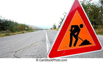 verkeerstekens, op de straat, onder, wederopbouw, symbool