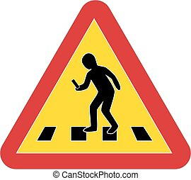 verkehr, fußgänger, smartphone, warnzeichen