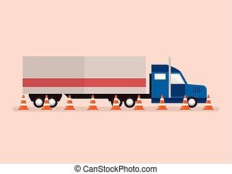 verkehr, großer lastwagen, kegel