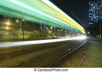 verkehr, in, hongkong, licht, rail.