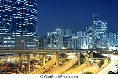 verkehr, in, stadtzentrum, von, hongkong