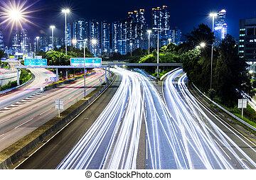 verkehr, landstraße, nacht