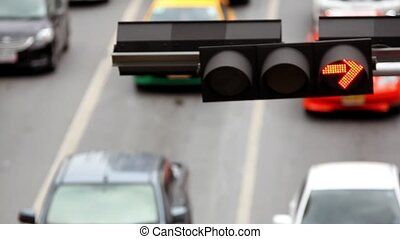 verkehrsampel, auf, a, stadtstraße, und, bewegen, auto.