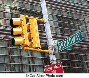 verkehrsampel, und, broadway