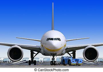 verkehrsflugzeug, an, der, flughafen