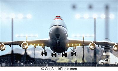verkehrsflugzeug, auf, aus, schließen, nehmen
