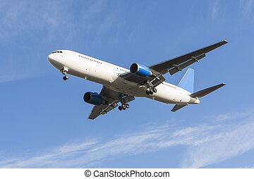 verkehrsflugzeug, flugzeuglandung