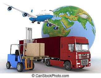 verkehrsflugzeug, mit, a, erdball, und, ladeprogramm