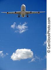 verkehrsflugzeug, und, wolke