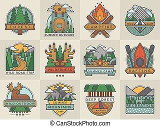 verkenner, buiten, set, toerist, kamperen, reizen, illustratie, emblems, vector, mal, logo, kentekens