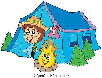 verkenner, kamperen, in, tentje