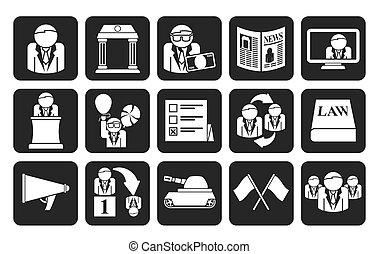 verkiezing, en, politieke partij, iconen