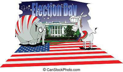 verkiezingen, dag, amerika