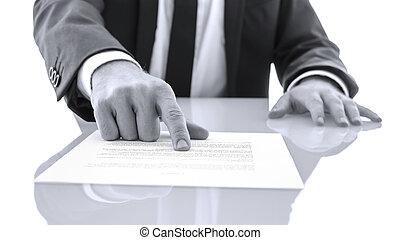 verklaring, lezen, het tonen, klant, advocaat, bewijs