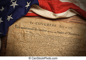 verklaring, onafhankelijkheid, vlag, amerikaan, ouderwetse , staten, verenigd