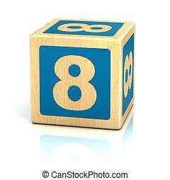 verkleumder acht, 8, houten blokken, lettertype