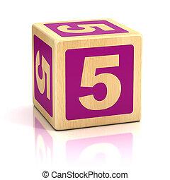 verkleumder vijf, 5, houten blokken, lettertype