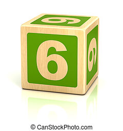 verkleumder zes, 6, houten blokken, lettertype