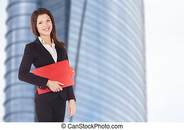 verklig, affärskvinna, fastighetsmäklare