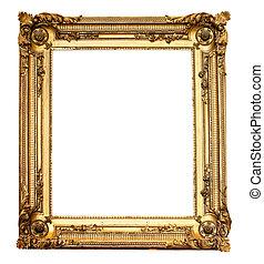 verklig, antika gamla, guld, ram, isolerat, vit