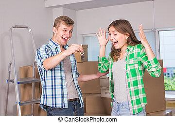 verklig, begrepp, egendom, flyttkalas, folk, par, house., ung, gripande, färsk, lycklig