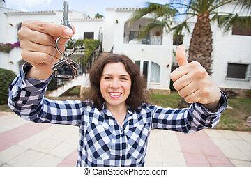 verklig, begrepp, egendom, stämm, hus, -, ung kvinna, färsk, främre del, hem, egenskap, lycklig
