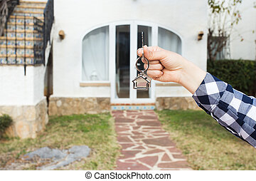 verklig, begrepp, keychain, egendom, format, stämm, hus, -, hålla lämna, färsk, främre del, hem, egenskap