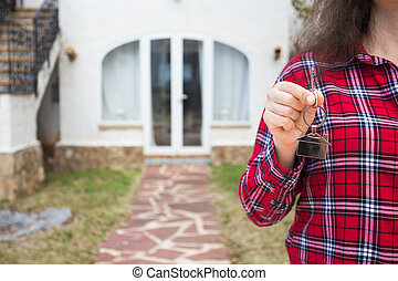 verklig, begrepp, keychain, egendom, format, stämm, hus, nära, -, uppe, kvinna räcka, färsk, främre del, hem, egenskap