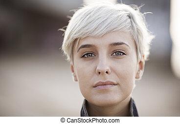 verklig, blondin, kvinna, ung