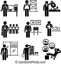 verklig, dödsbo, konstruktion, jobb