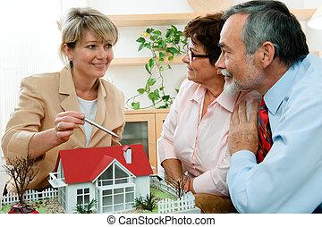 verklig, diskutera, fastighetsmäklare
