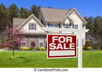 verklig, egendom, Hus, försäljning, underteckna, Hem