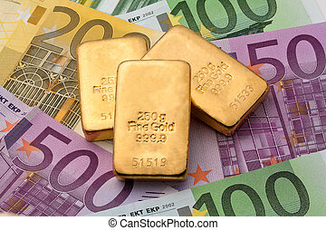 verklig, guld peng, än, guldtacka, investering