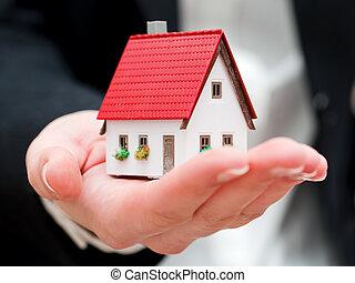 verklig, henne, egendom, hus, medel, gårdsbruksenheten räcker, liten, färsk