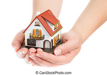 verklig, hus, -, egendom, räcker