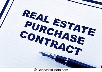 verklig, inköp, egendom, avtal
