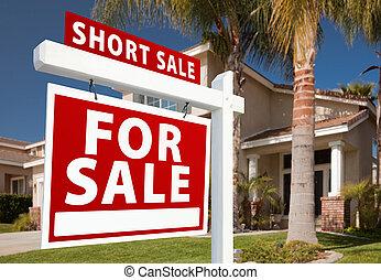 verklig, kort, egendom, hus, -, realisation signera, vänster