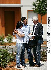 verklig, kunder, fastighetsmäklare