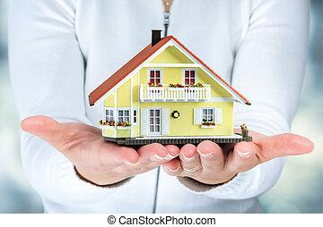 verklig, kvinna, egendom, hus, -, räcker