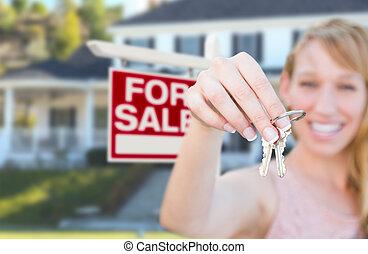verklig, kvinna, egendom, stämm, hus, realisation signera, holdingen, främre del, färsk, home., spänd, trevlig
