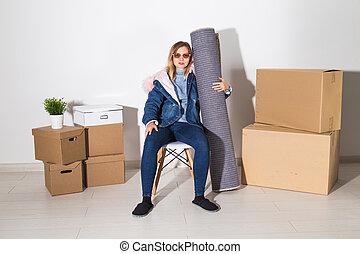verklig, lägenhet, begrepp, egendom, upacking, -, ung kvinna, omläggningen, nytt hem